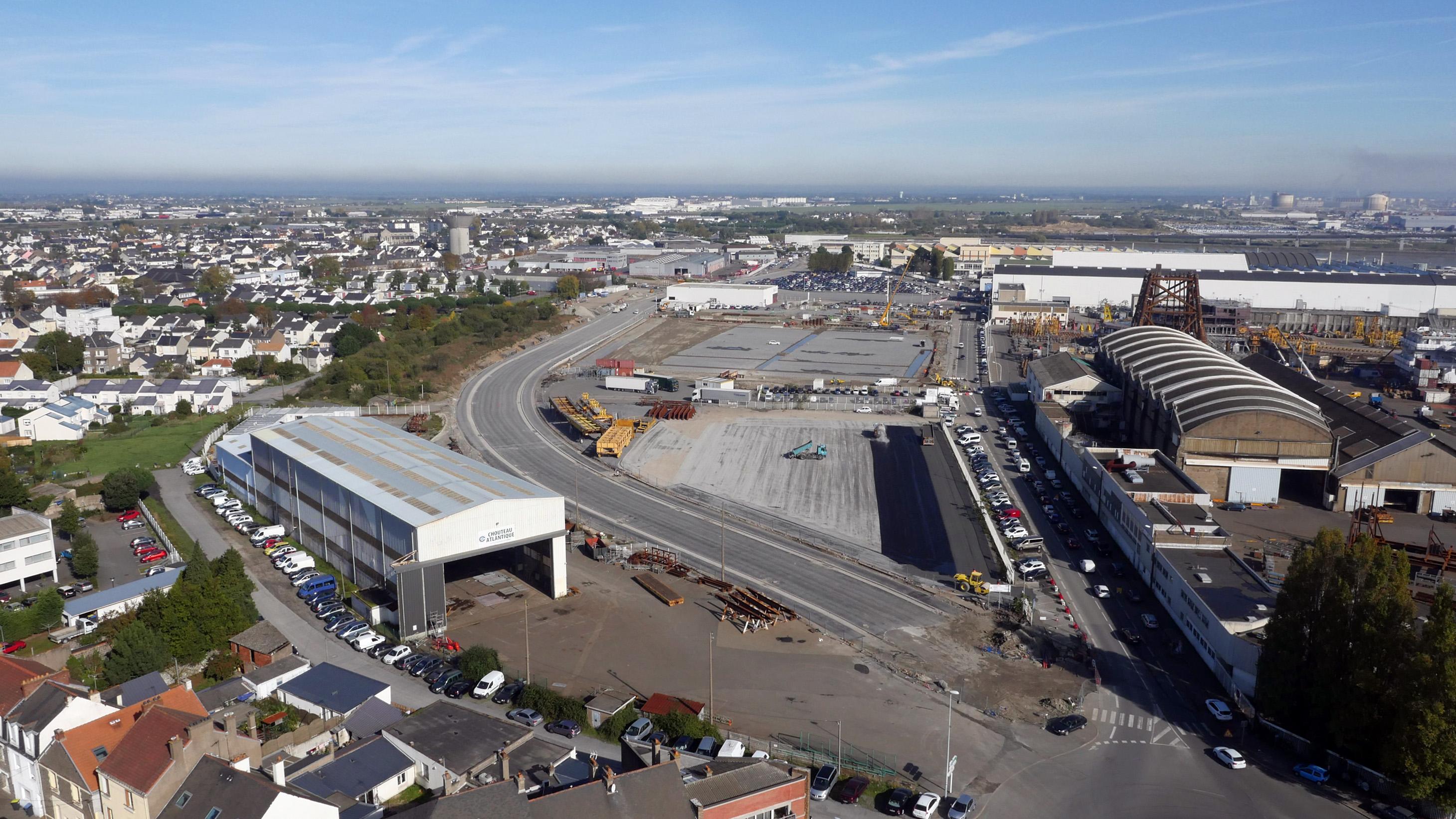 Le nouveau boulevard des Apprentis se construit à 150m de l'actuel (©Ville de Saint-Nazaire)