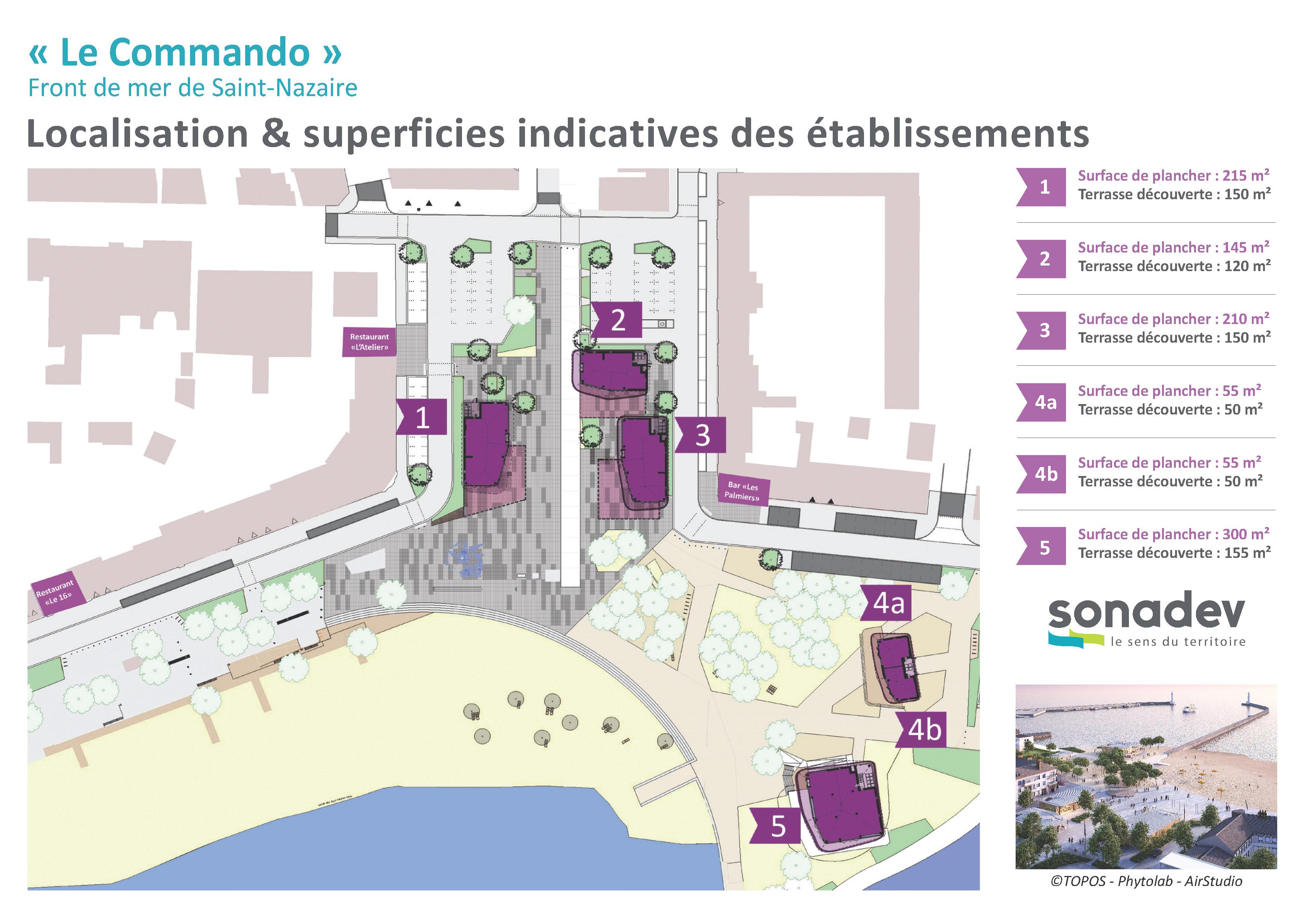 Place du Commando de Saint-Nazaire : implantation des commerces. Crédit : Sonadev
